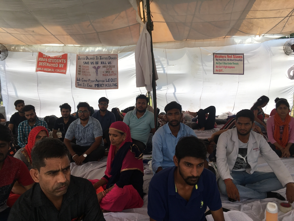 Mass Hunger Strike of Medical Students in Jhajjar.