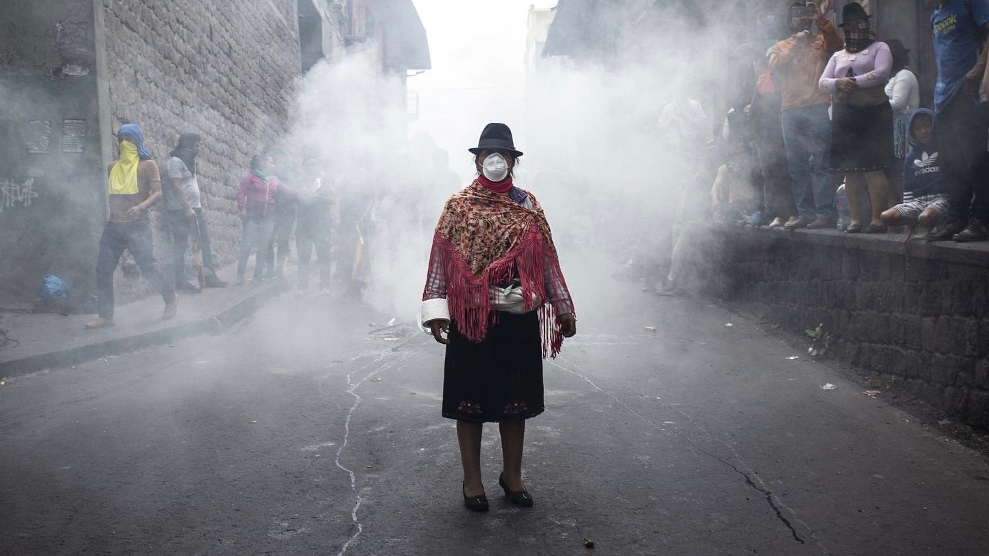 Indigenous woman in the streets of Quito during the protests.