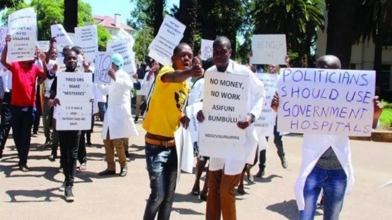 Government doctors in Zimbabwe strike against the loss in the value of their wages.