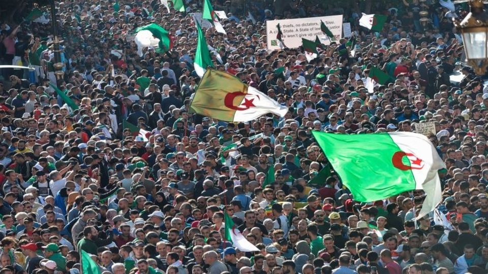 Algerian people protest against president Abdelmadjid Tebboune.