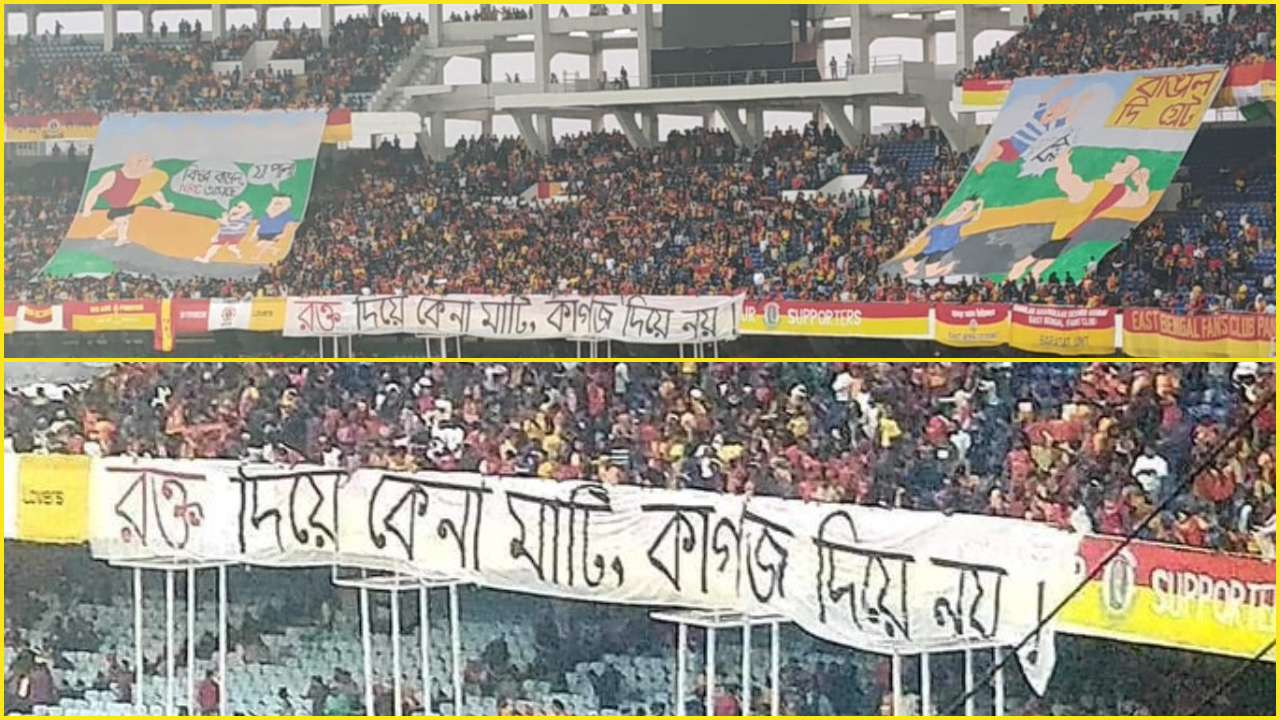 Protest at the stands during the East Bengal vs Mohun Bagan Kolkata Derby I-League football match