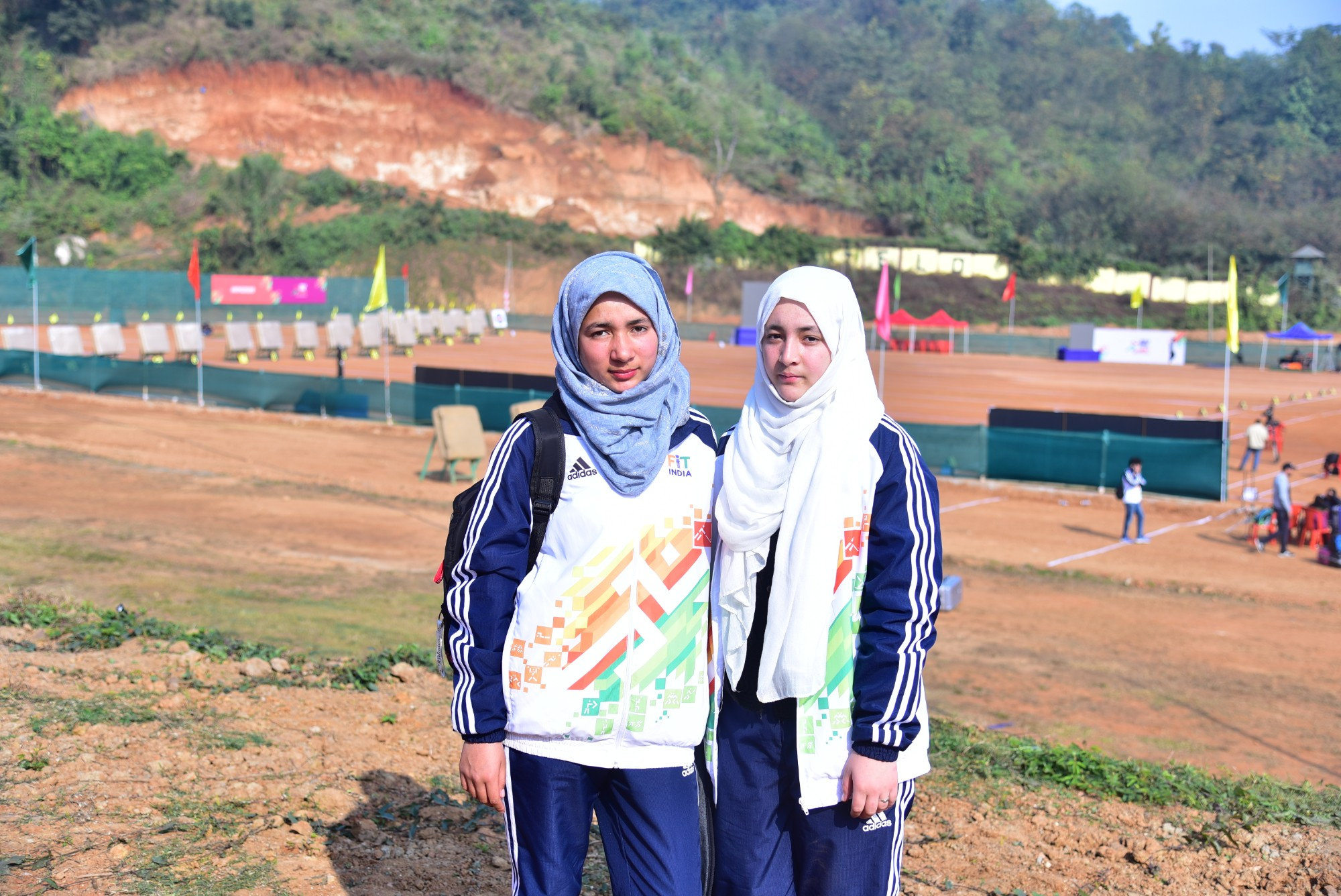 Archers Nusrat Rehman and Yasmeen Batool from Ladakh at the Khelo India Youth Games 2020 archery venue.