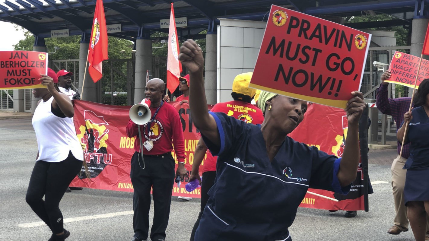 NUMSA and NUM held a picket outside Eskom's Megawatt Park in Johannesburg on January 15. (Photo: Chanel Retief)