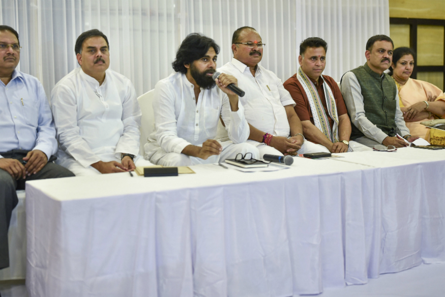 Jana Sena Party chief Pawan Kalyan speaks during a press meet after entering into an alliance with the BJP, in Vijayawada