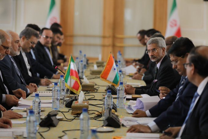 India-Iran Joint Commission meeting co-chaired by Foreign Minister Mohammed Javad Zarif (L) and Indian counterpart S. Jaishankar (R), Tehran, December 22, 2019