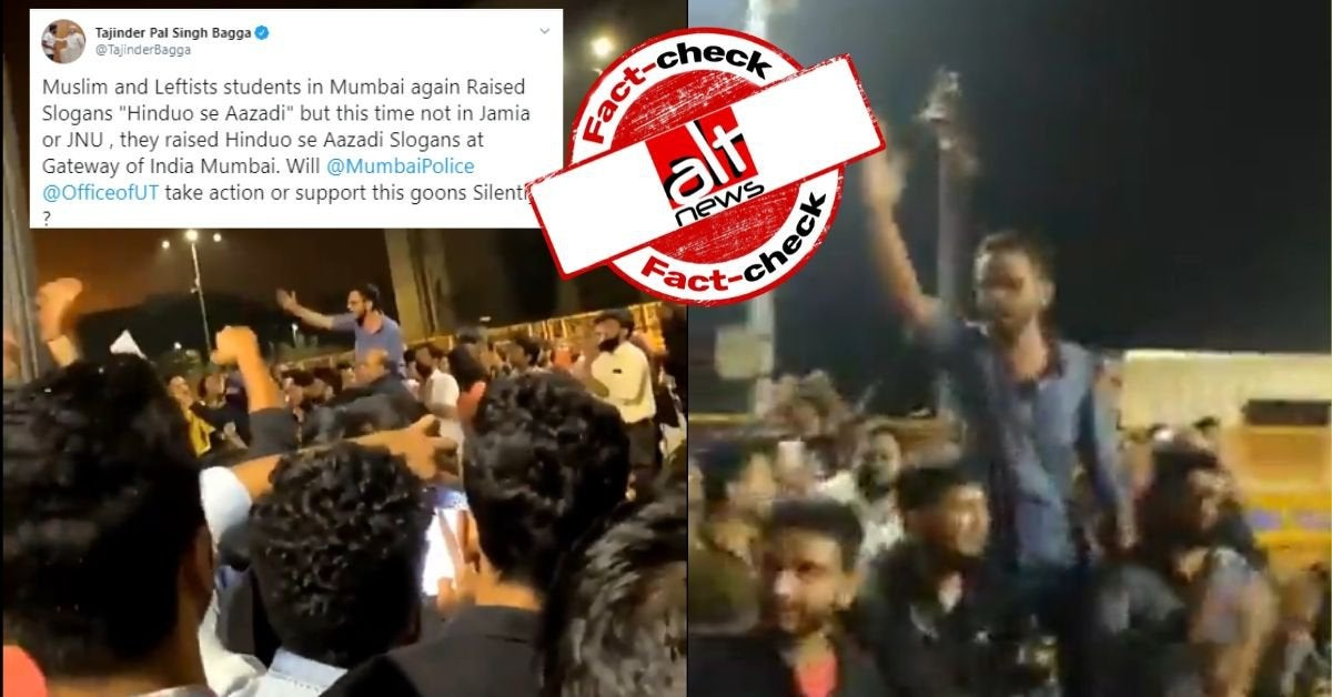 "No, Umar Khalid did not raise ""Hinduo se azadi"" slogan at Gateway of India, Mumbai"
