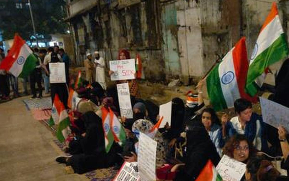 A group of women sit in protest against the Citizenship Amendment Act and NRC at Nagpada in Mumbai on January 26, 2020.