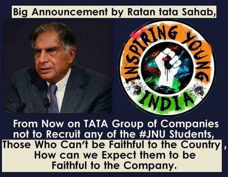 No, Ratan Tata has not Announced that JNU Students Will Not be Recruited by Tata Group