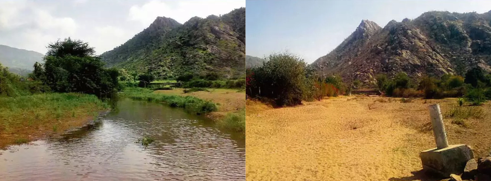 Transformation in Mt Abu: Stream in 2007 vs dry bed by 2016. Picture credit: Rustom Cama