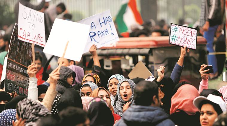 Jamia students protesting outside Gate No. 7.