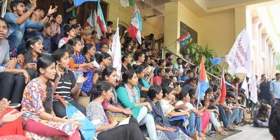 A protest gathering organised at Pondicherry University