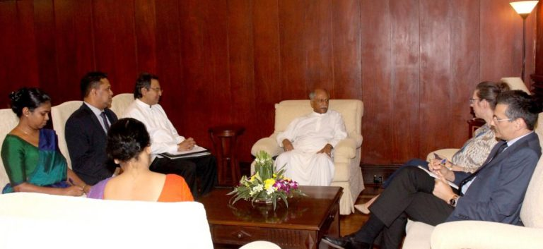 "Sri Lankan Foreign Minister Dinesh Gunawardena (C) summoned US envoy AlainaTeplitz to convey ""strong objections"" on the travel restrictions on Army Commander & Actg. Chief of Defence Staff, Colombo, Feb. 16, 2020."