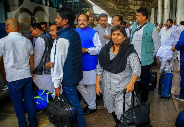 Madhya Pradesh Congress party MLAs arrive at Jaipur Airport