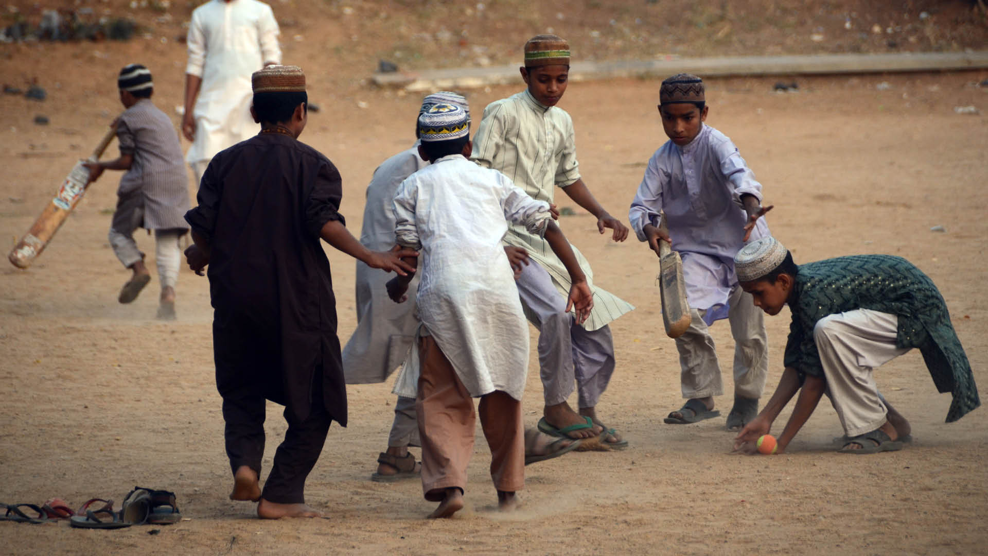 A gully cricket match in Hyderabad (Child's Right to Play is snatched in Covid-19 times)