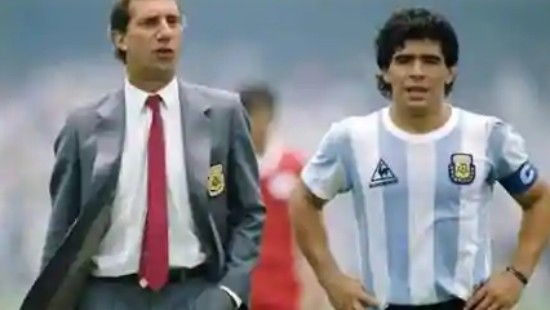 Carlos Bilardo and Diego Maradona at Mexico 1986