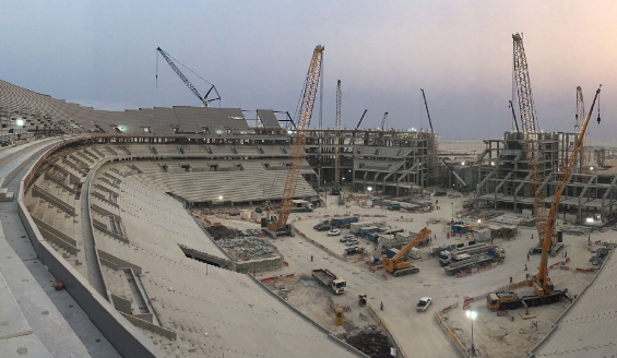 Al Bayt stadium construction workers in Qatar