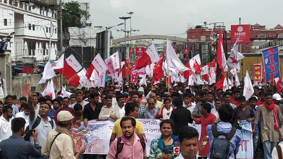Left Protests Outside American Centre in Kolkata,