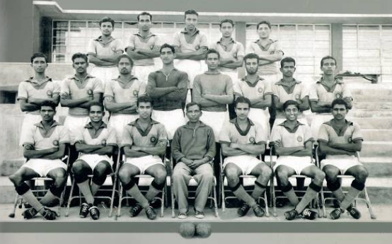 Legendary Indian football team coach Syed Abdul Rahim and his famous wards, the Asian champions