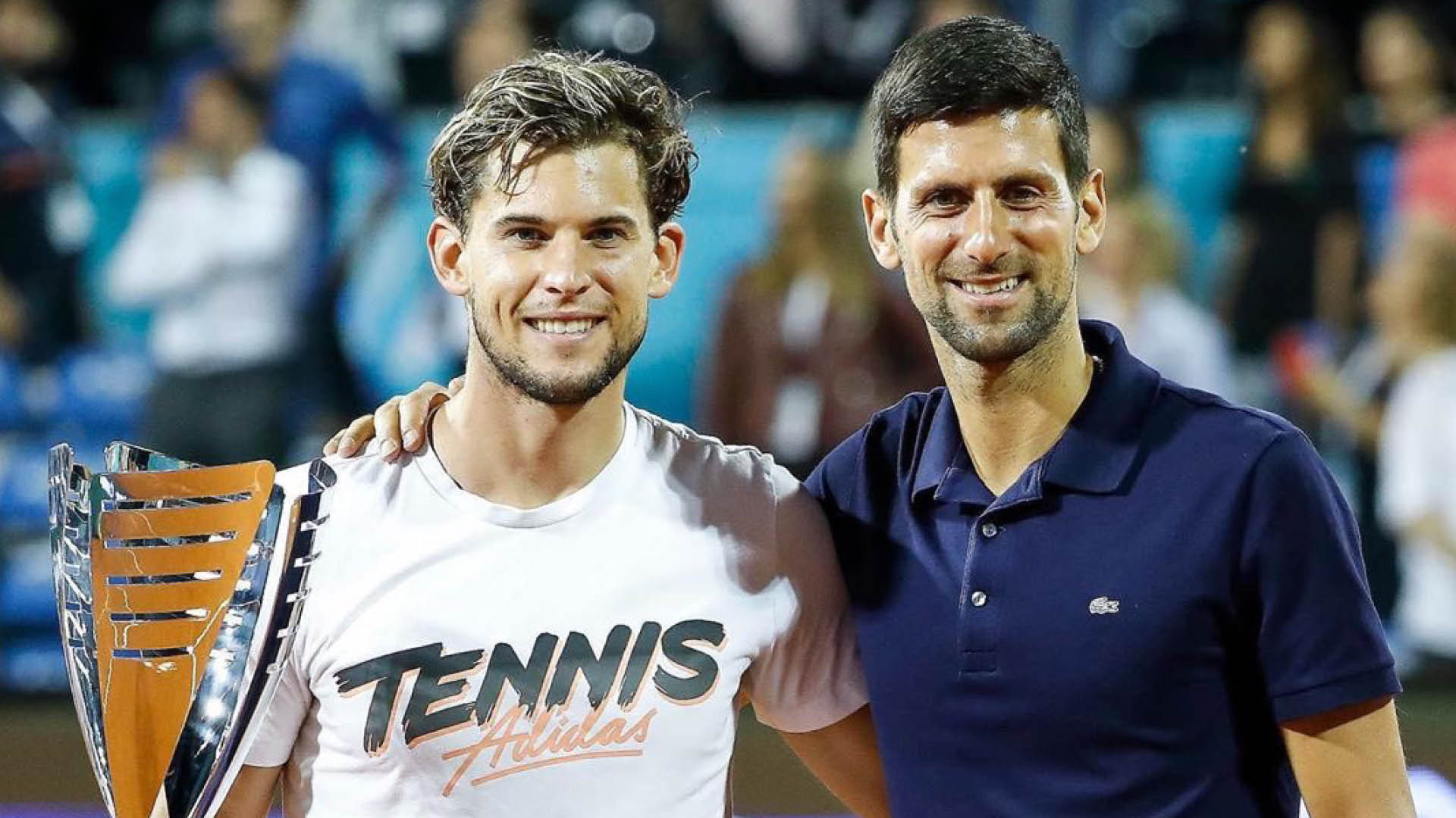 Dominic Thiem (left) and Novak Djokovic pictures at the Adria Tour first leg in Belgrade, which Thiem won. (Picture courtesy: Novak Djokovic/Twitter)
