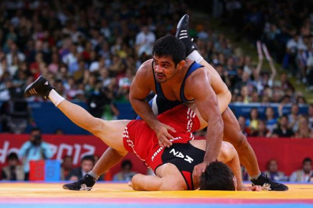 Sushil Kumar in action at the 2012 London Olympics