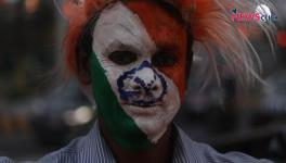An Indian hockey team fan at the FIH Men's Hockey World Cup in Odisha