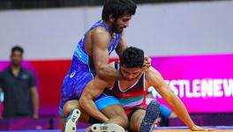 Wrestler Bajrang Punia in action at the Asian Wrestling Championships in New Delhi