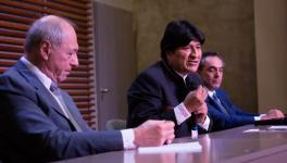 Evo Morales spoke in a press conference on Friday February 21 in Buenos Aires accompanied by former judge of the Argentinian Supreme Court Raúl Zaffaroni and lawyer Gustavo Ferreyra following the announcement that he would be disqualified as a candidate for senate. Photo: Prensa Evo