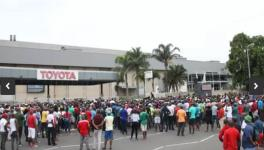 Protest outside the Toyota factory in Kwa-Zulu Natal province.