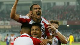 David Williams of ATK celebrates his goal vs Bengaluru FC in the ISL