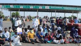 No entry: Students protesting near the border checkpost