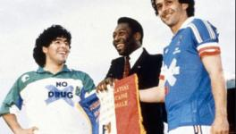 Diego Maradona, Pele, Michel Platini with Say No to Drugs in Football jerseys