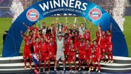 Bayern Munich players at the UEFA Champions League podium