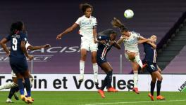 Wendie Renard of Lyon scores in the Women's Champions League semifinal