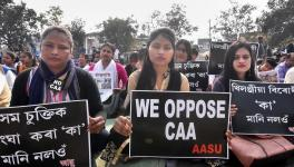 Activists of All Assam Students Union (AASU) protest against the Citizenship Amendment Act CAA in Guwahati Saturday Jan. 18 2020.