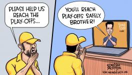 Can CSK reach the IPL playoffs - cartoon