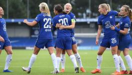Chelsea FC players after WSL match vs Manchester City
