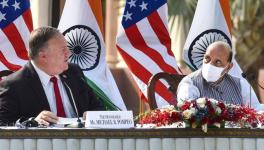 India's Defence Minister Rajnath Singh (R) and US Secretary of State Mike Pompeo (L) at media briefing, New Delhi, October 27, 2020
