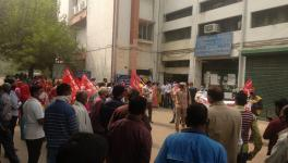 The protest was called by Rajdhani Bhavan Nirman Kamgar Union, a construction workers' body backed by Centre of Indian Trade Unions (CITU). Courtesy - Special Arrangement
