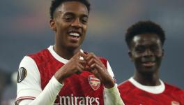 Joe Willock of Arsenal FC celebrates his goal against FK Molde