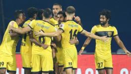 Hyderabad FC players celebrate vs Odisha FC in ISL