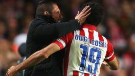 Diego Costa and Diego Simeone of Atletico Madrid