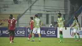 Sharif Mohammad (No. 21) was one of two Afghanistan internationals seen in action on Matchday 5 of the I-League on January 30 at the Kalani Municipal Stadium. (Image courtesy of AIFF Media)
