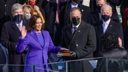 Kamala Harris being sworn in as US Vice-President. At right extreme is President Joe Biden. Washington, DC, January 20, 2021
