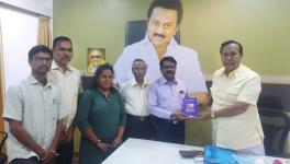 NDMJ activists submitting the manifesto to T R Baalu of DMK