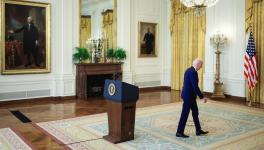 US President Joe Biden departs after delivering remarks on Russia in the East Room at White House, Washington, DC, April 15, 2021
