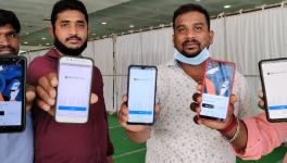 Protesting drivers in Telangana showcase their logged-out app status on Saturday. Courtesy - Special Arrangement