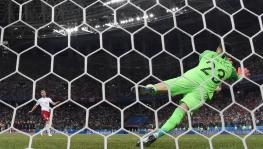 Croatia football team goalkeeper Danijel Subasic during penalty shootout at FIFA World Cup.
