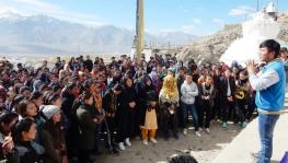 Leh students protest