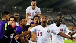 Qatar national football team players celebrate after winning the AFC Asian Cup 2019