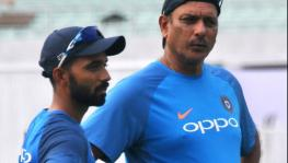 Indian cricket team batsman Ajinkya Rahane and coach Ravi Shastri
